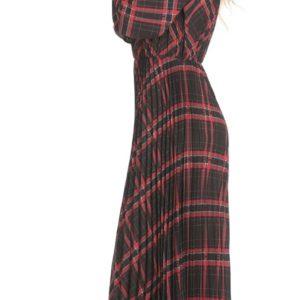 Classy geruite lange jurk. Lange mouw.